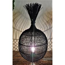 Lamp rotan zwart bol