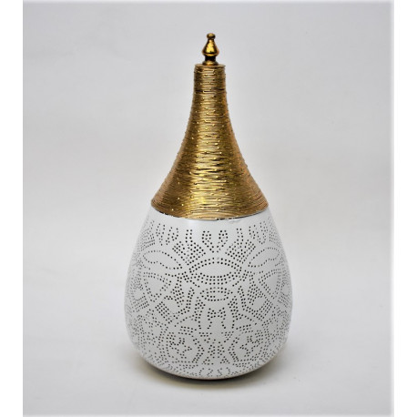 Filigrain table lamp metal white-gold