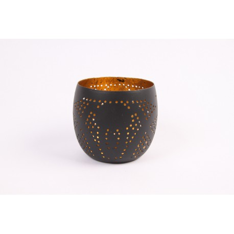 Waxinehouders mat zwart met filigrain design & goudkleurig binnenkant