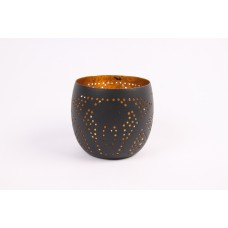 Votive metal filigree matt black/gold