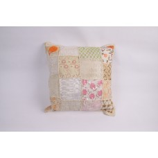 Pillow patchwork multi white