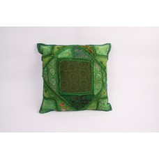 Pillow patchwork multi green