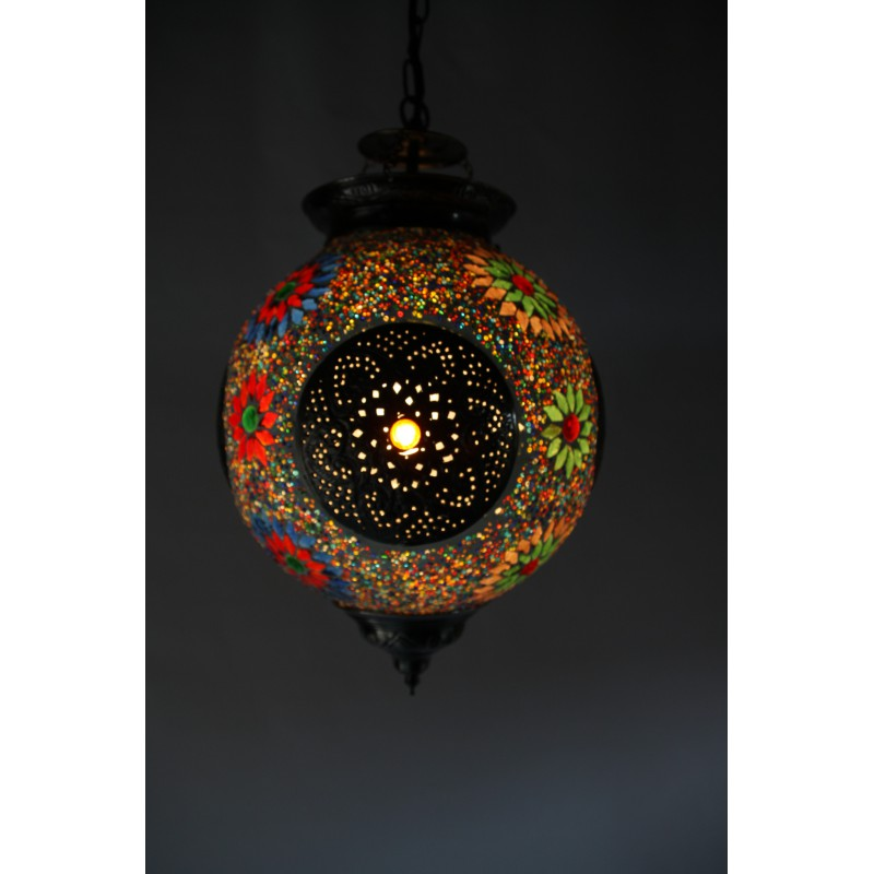 Hanging lamp multicolour mosaic Turkish design beads and triangles ...