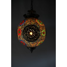 Hanging lamp multicolour mosaic Turkish design beads and triangles and iron
