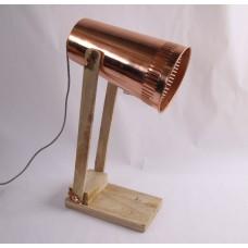 Tafel lamp hout met koper