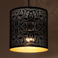 Filigrain hanglamp mat zwart:goud