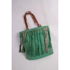 Flower power tas met versiering groen