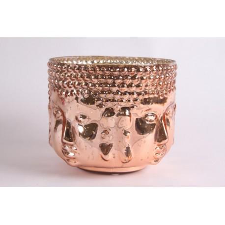 Waxinehouder glas Boeddha koper