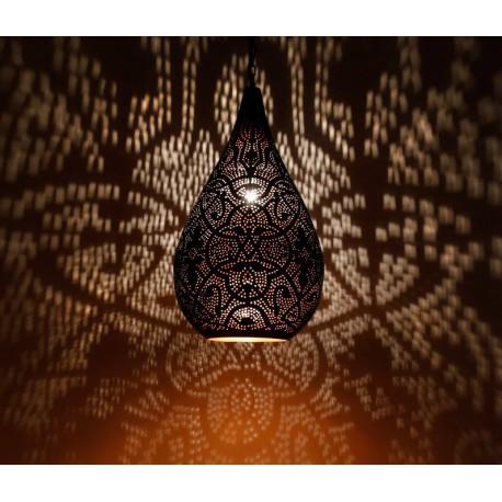 Filigrain hanglamp druppel vorm zwart/koper