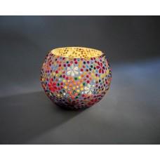Waxinehouder glas met bloemenmotief klein