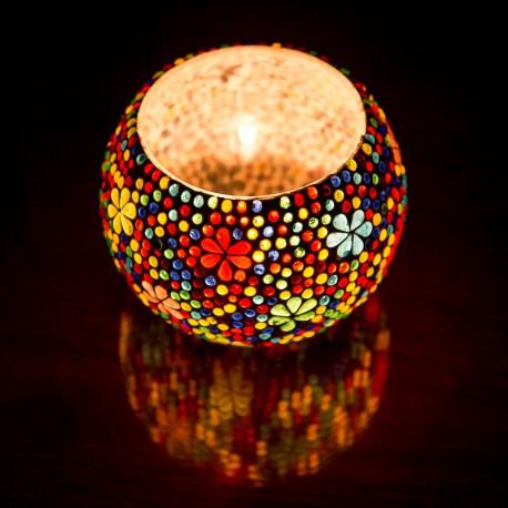 Waxinehouder glas bloemmotief groot