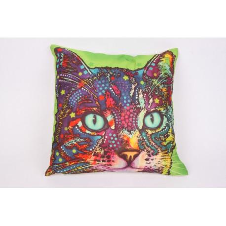 Kussen kat psychedelic 1