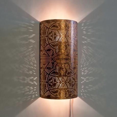 Filigrain wandlamp half cilinder model koper