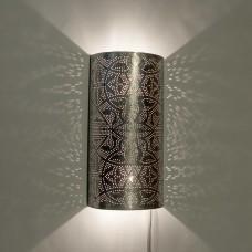 Filigrain wandlamp half cilinder model zilver