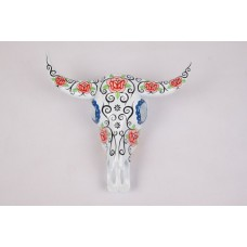 Buffalo skull resin hand painted