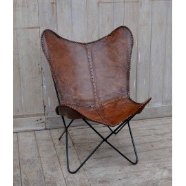 Vlinderstoel bruin leer