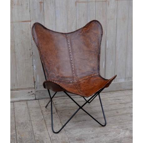 Vlinderstoel butterfly chair leren stoel stoel for Bruine leren stoel